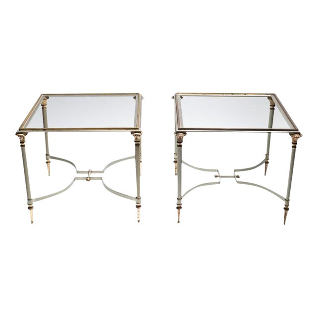 Maison Jansen Steel & Brass Side Tables- A Pair - Image 1 of 8