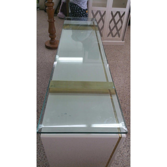 Lacquer & Brass Sideboard Floating Glass Top For Sale - Image 10 of 12