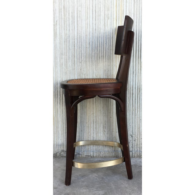 Mid-Century Modern Set of Six Caned Seat and Wood Back Bar Stools For Sale - Image 3 of 13