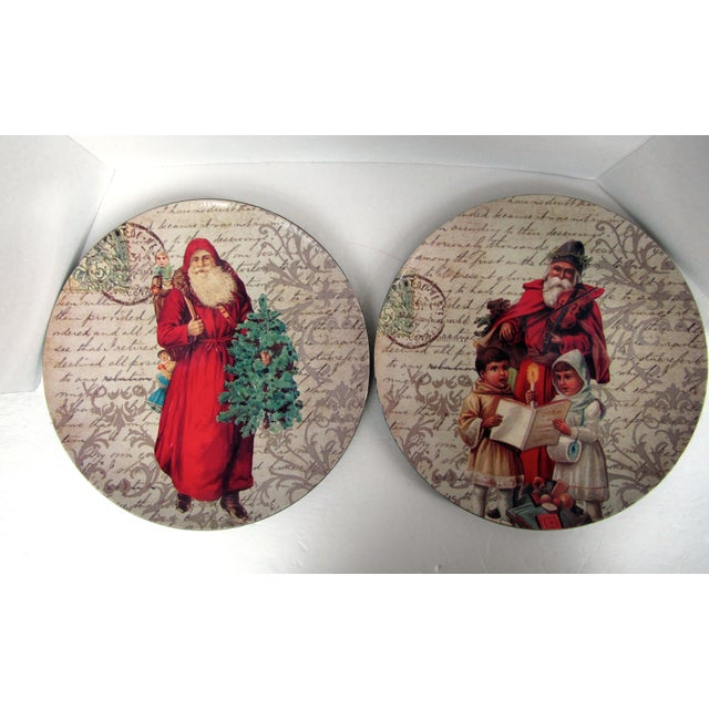 Decorative Christmas Charger Plates-2 Pieces For Sale - Image 6 of 6