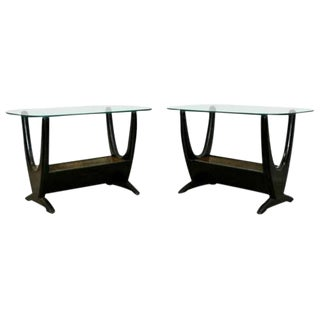 Mid Century Modern Pair Wood Glass Brass Planter End Side Tables by Pearsall For Sale