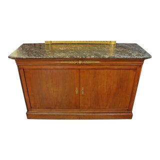 1840s Louis Philippe French Marble Top Buffet For Sale