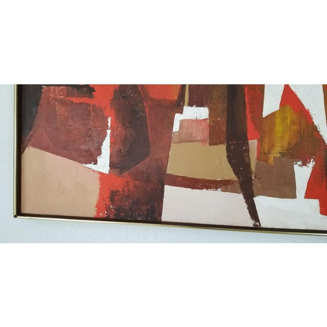 Brown Mid-Century Acrylic on Canvas Painting by Palilo. For Sale - Image 8 of 13