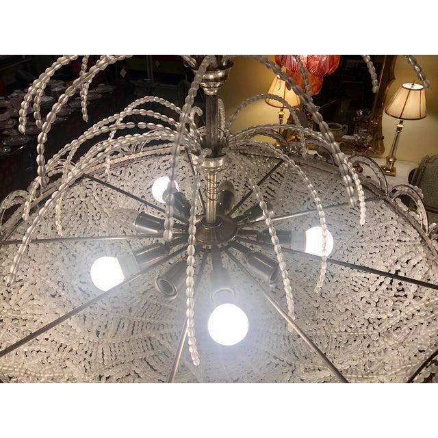 Art Deco Rene Lalique Style, Crystal Basket Chandelier For Sale - Image 12 of 12