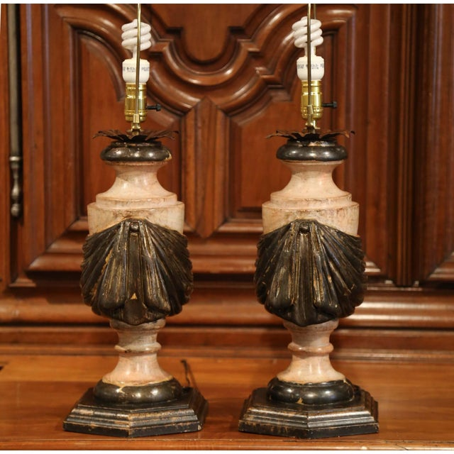 Lights Pair of Italian Carved Lamp Bases With Polychrome Antique Painted Finish For Sale - Image 7 of 12