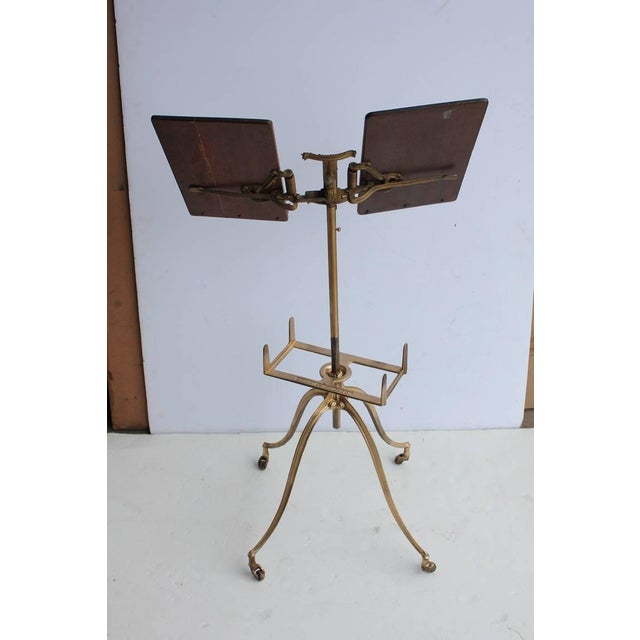 19th Century original American cast iron based dictionary or music stand with oak top. Adjustable height.