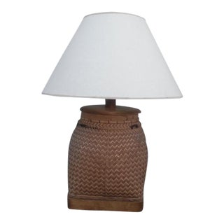 Large Hand Woven Basket Table Lamp With Shade For Sale