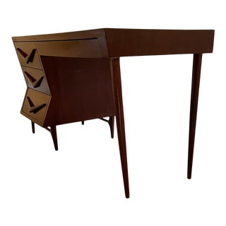 1950s Mexican Floating Mahogany Desk with Tall Tapered Legs For Sale