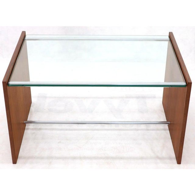 1970s Mid-Century Danish Modern Rosewood Chrome Glass Top Coffee Side Table For Sale - Image 5 of 11