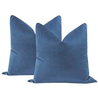 """22"""" Cadet Velvet Pillows - a Pair"""