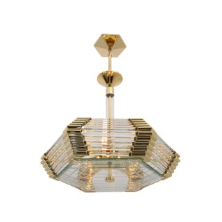 Hanging Glass Rod Chandelier - Styled After Bakalowits & Sohne - Brass - Hollywood Regency Style - Hexagon Brass Fixture - Pendant Light For Sale