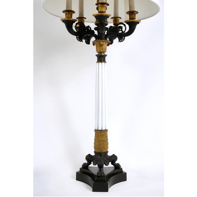 Gilt Bronze / Art Glass Candelabras Lamp - a Pair For Sale - Image 11 of 12