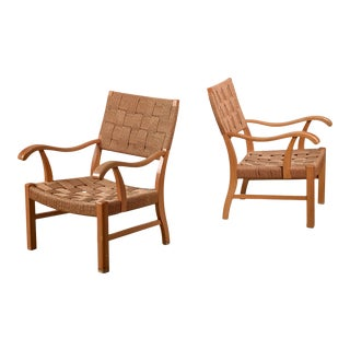 Fritz Hansen Beech and Seagrass Chairs, Denmark, 1930s For Sale