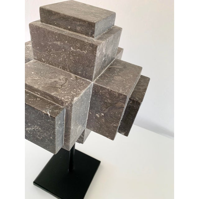 2010s Modern Sculpture Gray Marble Cube on Stand For Sale - Image 5 of 10