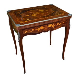 1900s Antique French Louis XV Walnut and Satinwood Inlaid Flip Top Game Table For Sale
