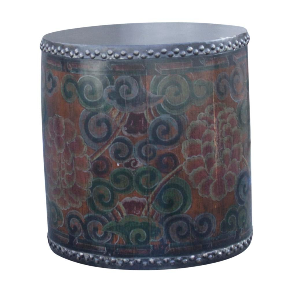 Rustic Tibetan Drum Side Table   Image 4 Of 6 Idea