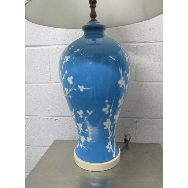 Mid-Century Modern Pair Blue Ceramic Floral Lamps For Sale - Image 3 of 6