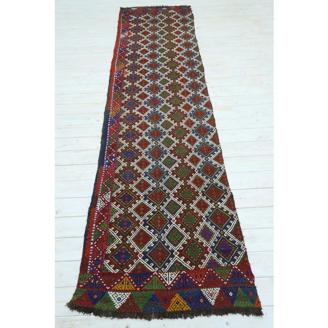 "Blue Vintage Anatolian Kilim Runner-2'11'x11'2"" For Sale - Image 8 of 13"