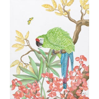 """Welcome to the Jungle"" Tropical Parrot Bird Painting in the Chinoiserie Style by Allison Cosmos For Sale"