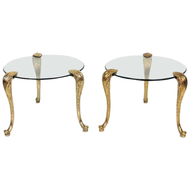 P.E. Gurein Style Brass and Grass End Tables - A Pair For Sale