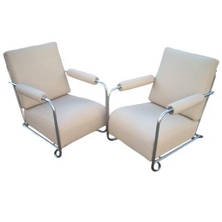 1930s Art Deco Gilbert Troy Sunshade Rohde Chrome and Leather Armchairs - a Pair For Sale