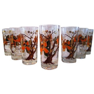 Culver Cherry Blossom Tree Tumblers - Set of 8 For Sale
