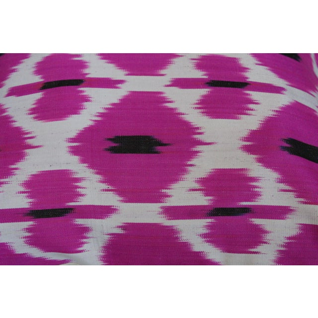 Rose Hand Knotted Turkish Ikat Pillow Cover For Sale - Image 4 of 5