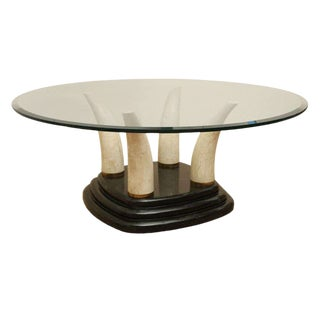 1970s Art Deco Tessellated Stone Tusk Cocktail Table For Sale
