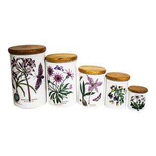 Vintage Portmeirion Botanic Garden Canister Set - 5 Canisters For Sale