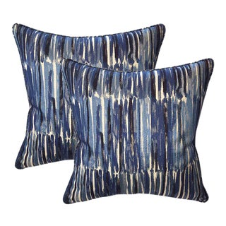Donghia Down Feather Embroidered Designer Pillows With Chenille Velvet Backs - A Pair