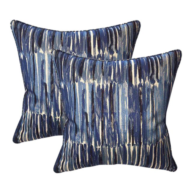 Donghia Down Feather Embroidered Designer Pillows With Chenille Velvet Backs - A Pair For Sale