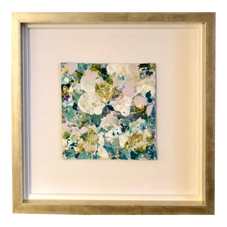 White and Aqua Flower Leatherette Painting For Sale