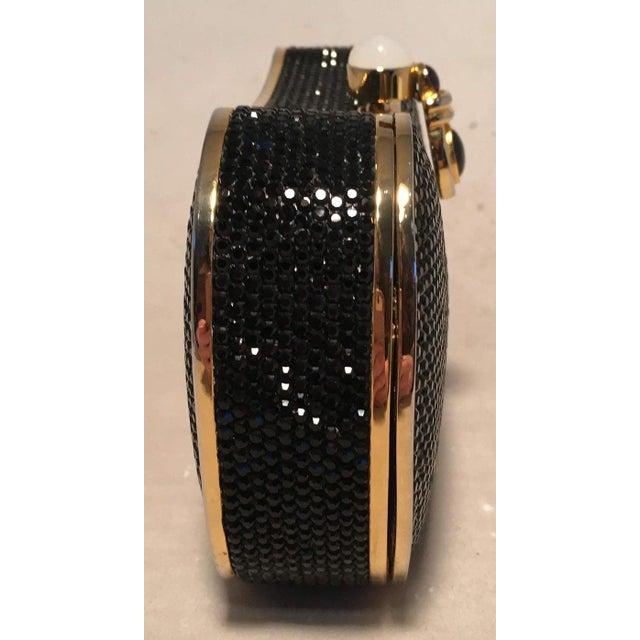 Art Nouveau Judith Leiber Black Swarovski Crystal Minaudiere Evening Bag Clutch For Sale - Image 3 of 9