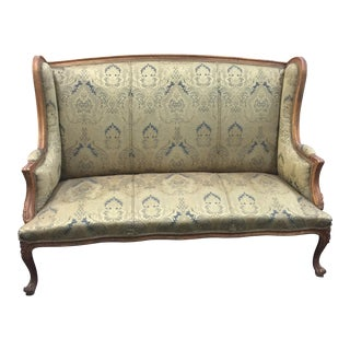 Green Damask Highback Rococo Sofa For Sale