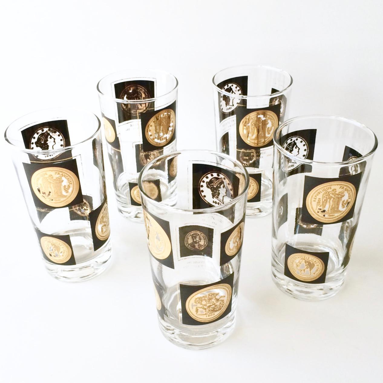 Libbey Glass Co. Old World Gold Coins Barware Glasses   Set Of 8   Image
