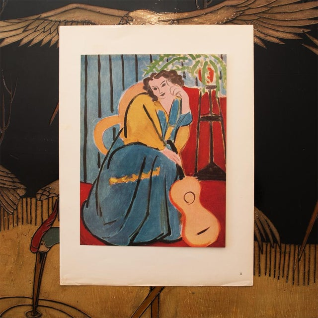 """French 1946 Henri Matisse Original """"Seated Woman With a Guitar"""" Parisian Period Lithograph For Sale - Image 3 of 8"""