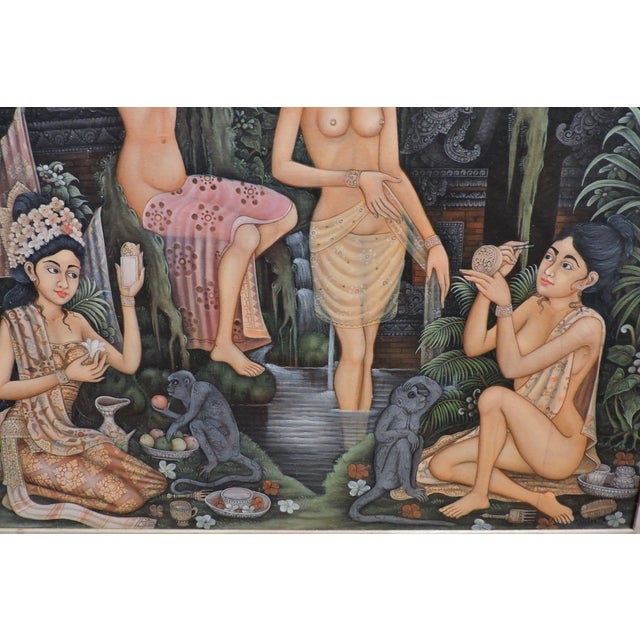 Anonymous Balinese Bathing Ladies Painting For Sale - Image 4 of 8