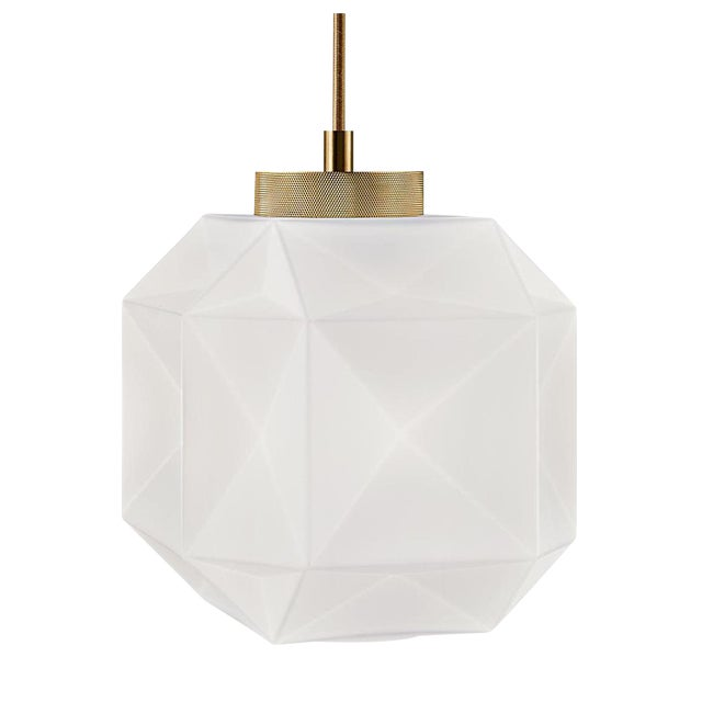 Hand Blown Glass and Brass Pendant Light For Sale