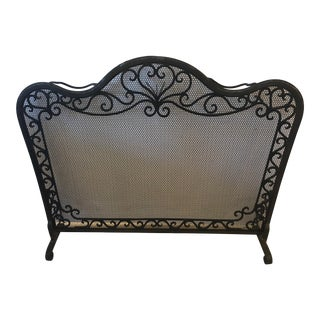 19th Century Heavy Freestanding Hand Wrought Iron and Honeycomb Fireplace Screen For Sale