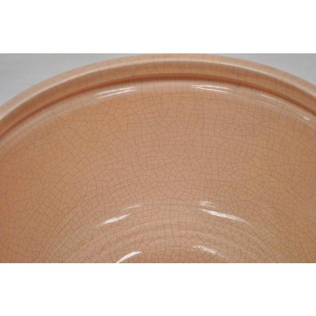 "Vintage Bitossi Italian Mid Century Modern Pink 10""h Crackle Glazed Ceramic Bowl For Sale In Philadelphia - Image 6 of 10"