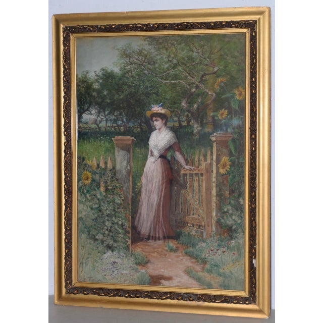 Early 20th C. Portrait of Young Woman at Gardens Gate Watercolor Painting For Sale - Image 9 of 9