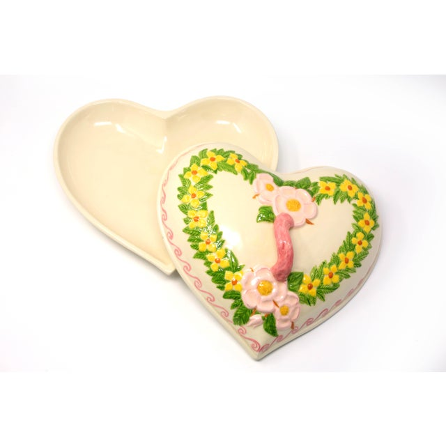 Vintage Heart Shaped Hand Painted Ceramic Tureen / Lidded Bowl For Sale - Image 13 of 13