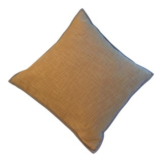 Pottery Barn Linen Yellow Pillow With Taupe Trim