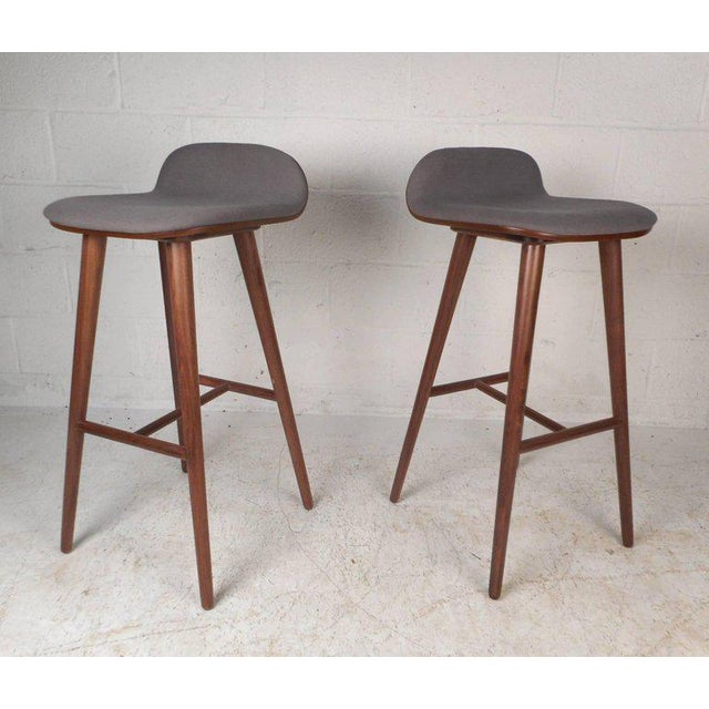 Brown Contemporary Modern Bar Stools - A Pair For Sale - Image 8 of 8