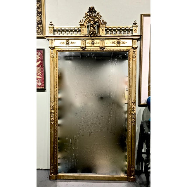 Gold Large 19th Century Antique French Gilt Putti Mirror For Sale - Image 8 of 9
