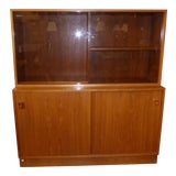 Image of Danish Mid-Century Modern Glass Door Hutch For Sale