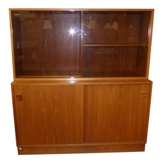 Danish Mid-Century Modern Glass Door Hutch For Sale