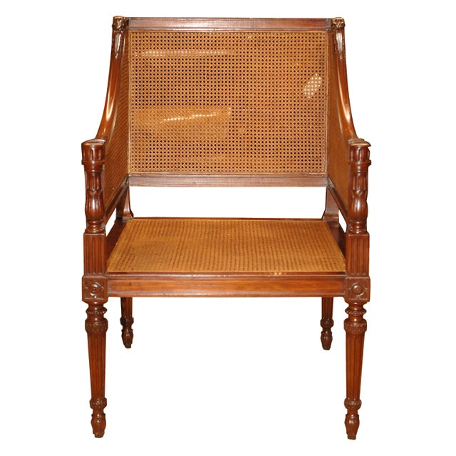 Brown Large Caned Bergere Chair For Sale - Image 8 of 8