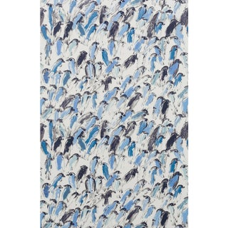 Hunt Slonem for Lee Jofa, Finches Wallpaper Roll, Blue/Beige, 10 Yards For Sale
