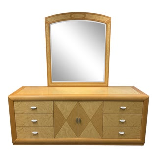 Italian Maple Dresser With Mirror For Sale
